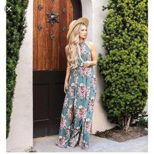 Vici dolls sage floral maxi dress